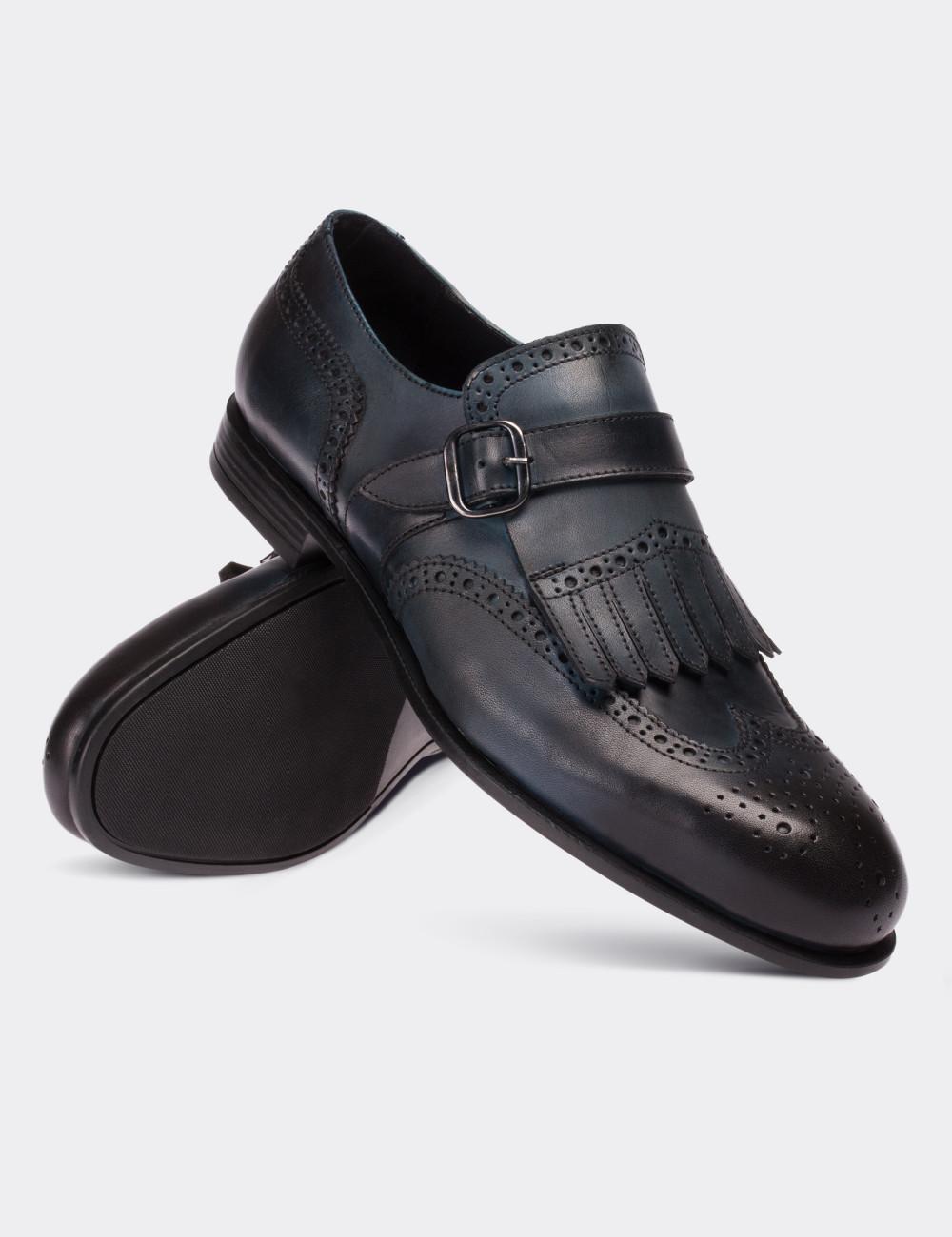 ec81ba14b7097 Navy Calfskin Leather Monk Straps Shoes - 01680MLCVC02
