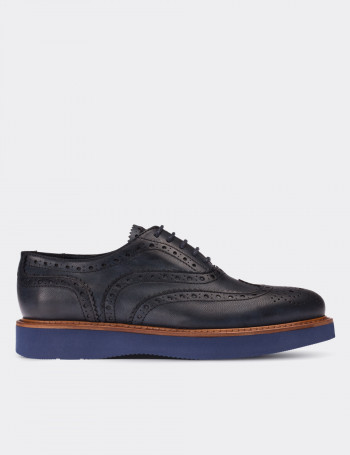Navy Calfskin Leather Lace-up Shoes