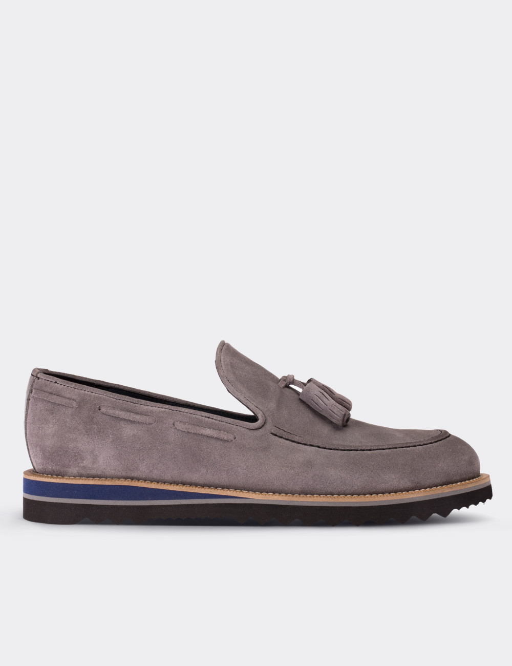 23cc8e6023c42 Gray Suede Calfskin Loafers & Moccasins Shoes - 01319MGRIE01