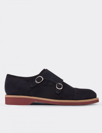 Navy Suede Calfskin Monk Straps Shoes