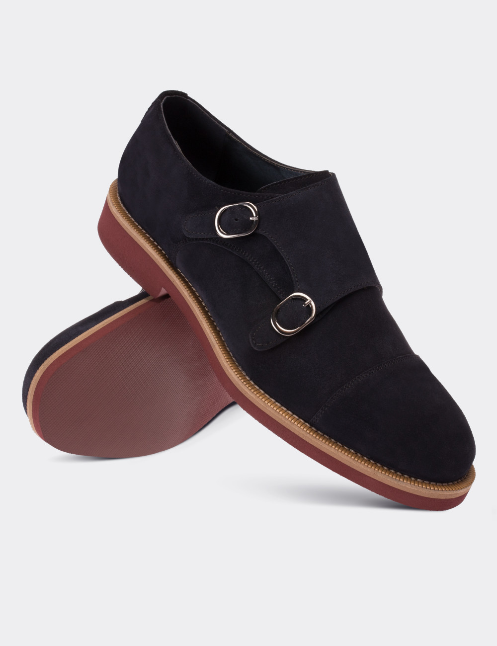 7d1506037af45 Navy Suede Calfskin Monk Straps Shoes - 01566MLCVE01