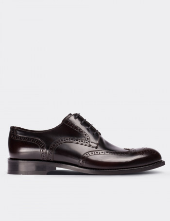 Burgundy Calfskin Leather Oxford Shoes