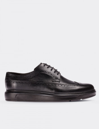 Black Calfskin Leather Comfort Lace-up Shoes