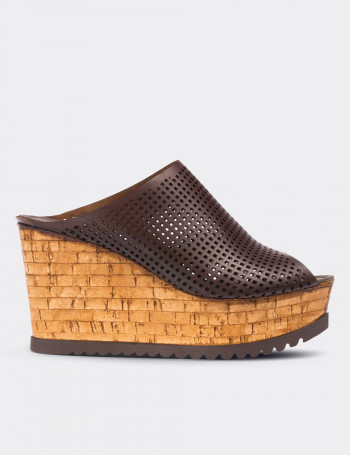 Brown Calfskin Leather Wedge Sandals