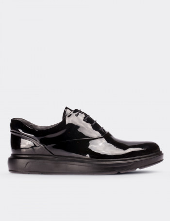 Black Patent Leather Comfort Lace-up Shoes
