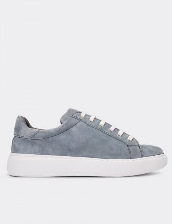 Gray Suede Calfskin Sneakers