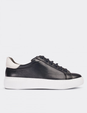 Navy Calfskin Leather Sneakers