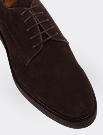 Brown Suede Calfskin Lace-up Shoes