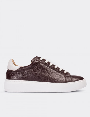 Burgundy Calfskin Leather Sneakers