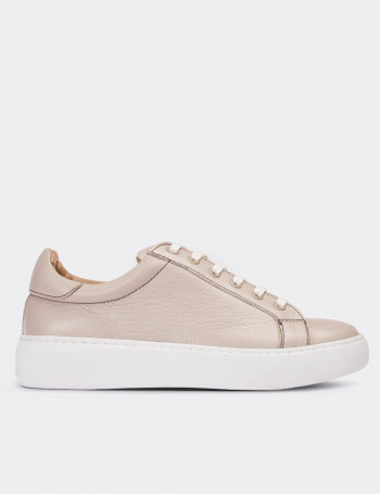 Beige Calfskin Leather  Sneakers