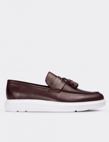 Burgundy Calfskin Leather Loafers & Moccasins Shoes