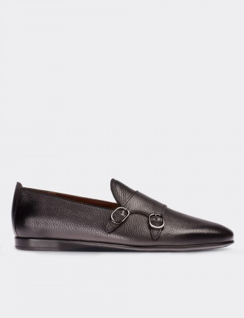 Gray Calfskin Leather Monk Strap Loafers