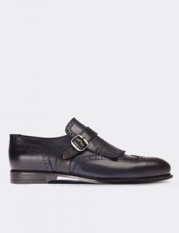 Navy Calfskin Leather Monk Strap Classic Shoes
