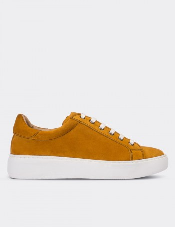 Yellow Suede Calfskin Sneakers