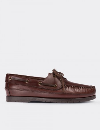 Brown Calfskin Leather Marine Shoes