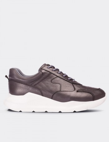 Gray Calfskin Leather Sneakers