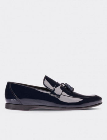 Navy Patent Leather Loafers