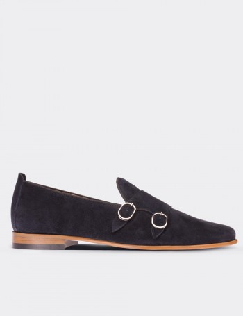 Navy Suede Calfskin Monk-Strap Loafers
