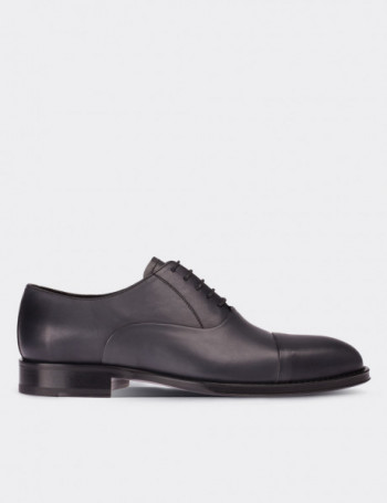 Gray Calfskin Leather Classic Shoes