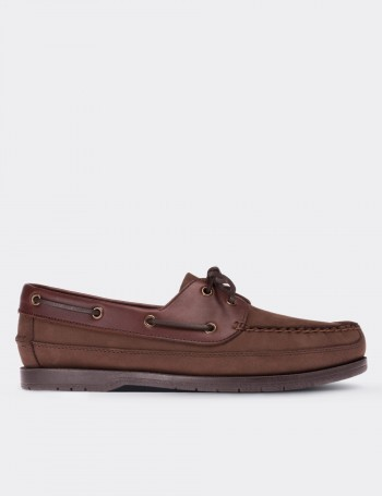 Brown Nubuck Calfskin Marine Shoes