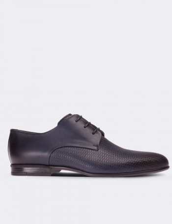 Navy Calfskin Leather Classic Shoes