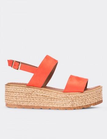 Orange Leather Sandals