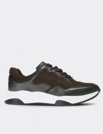 Green Calfskin Leather Sneakers