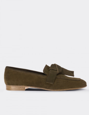 Green Suede Calfskin Loafers