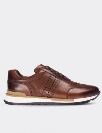 Tan Calfskin Leather Sneakers
