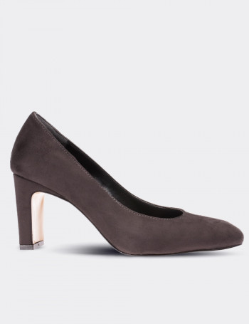 Anthracite Faux Leather Pumps