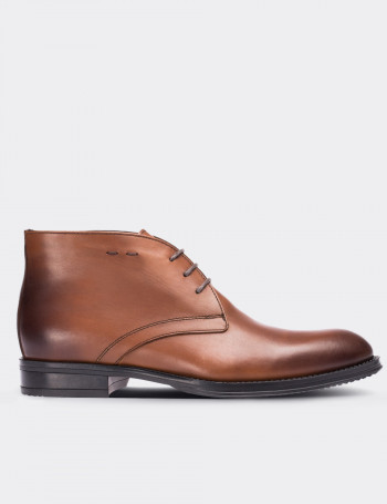 Tan Calfskin Leather Desert Boots