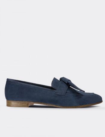 Blue Suede Calfskin Loafers