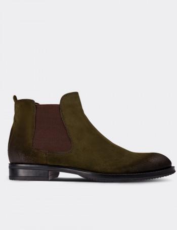 Green Suede Calfskin Chelsea Boots
