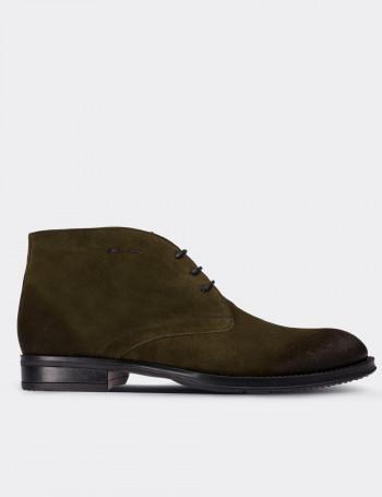 Green Suede Calfskin Desert Boots