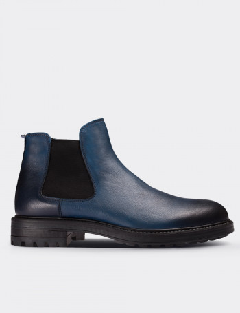 Blue Calfskin Leather Chelsea Boots