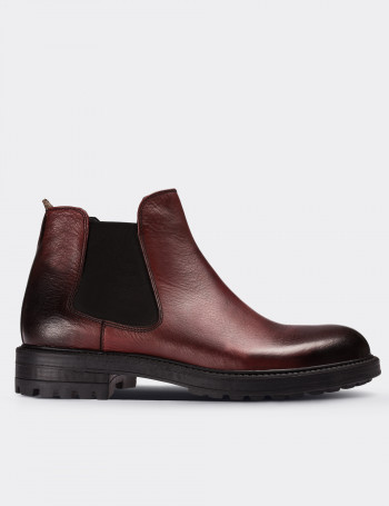 Burgundy Calfskin Leather Chelsea Boots