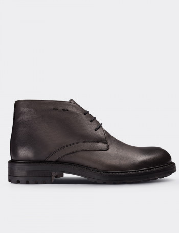 Gray Calfskin Leather Desert Boots