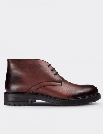 Burgundy Calfskin Leather Desert Boots