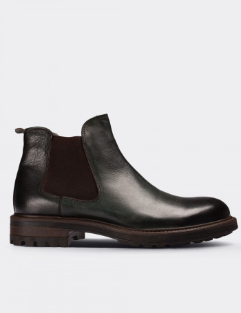 Green Calfskin Leather Vintage Chelsea Boots
