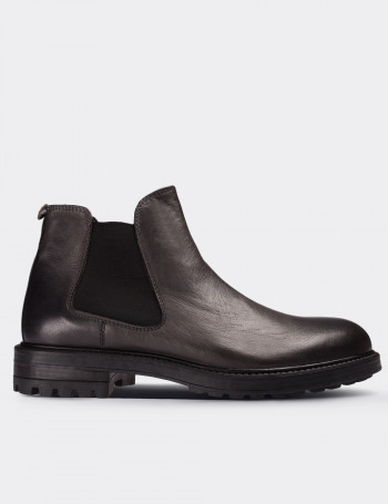 Gray Calfskin Leather Vintage Chelsea Boots