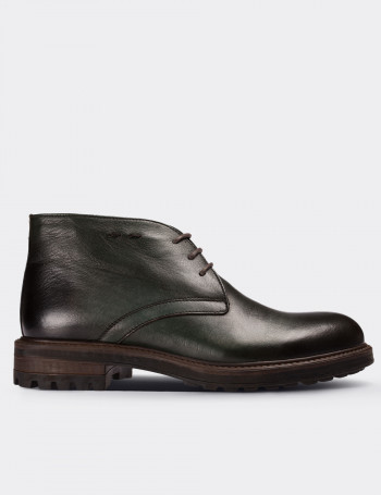 Green Calfskin Leather Vintage Desert Boots