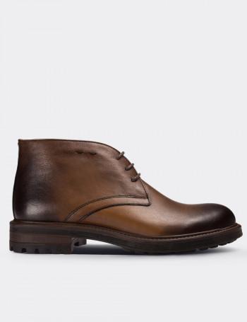 Tan Calfskin Leather Vintage Desert Boots