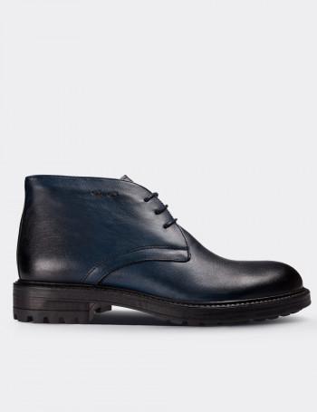 Navy Calfskin Leather Vintage Desert Boots