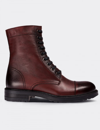 Burgundy Calfskin Leather Postal Boots