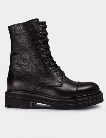 Black Calfskin Leather Postal Boots