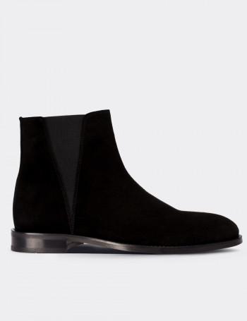 Black Suede Calfskin Boots