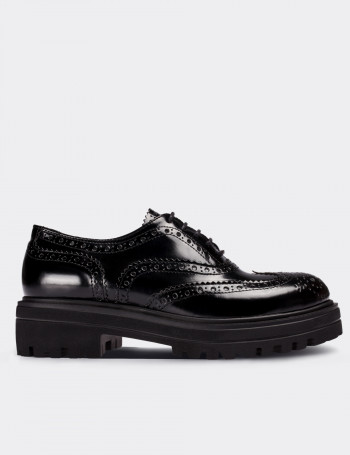 Black Calfskin Leather Lace-up Oxford Shoes