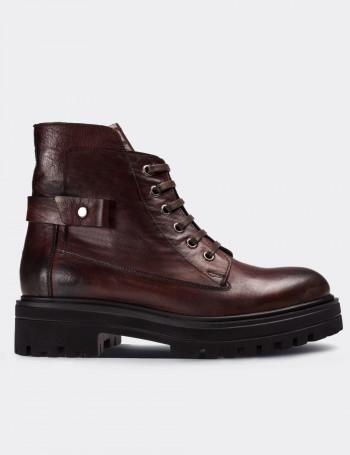 Burgundy Calfskin Leather  Boots