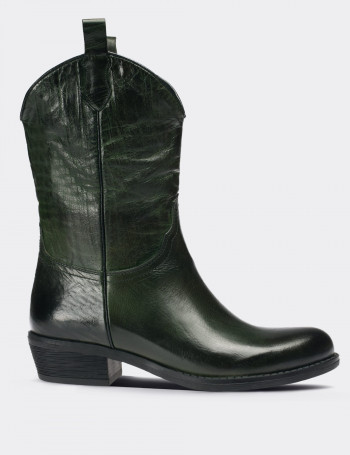 Green Calfskin Leather Western Boots