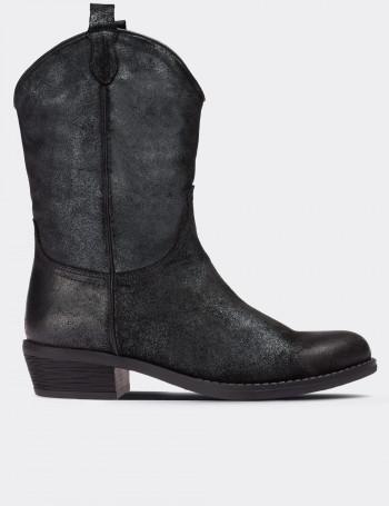 Anthracite Suede Calfskin Western Boots